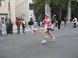 Running hard at mile 26.